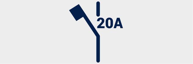 Kleine automatische schakelaar maat 20A - Eendraadschema-symbolen